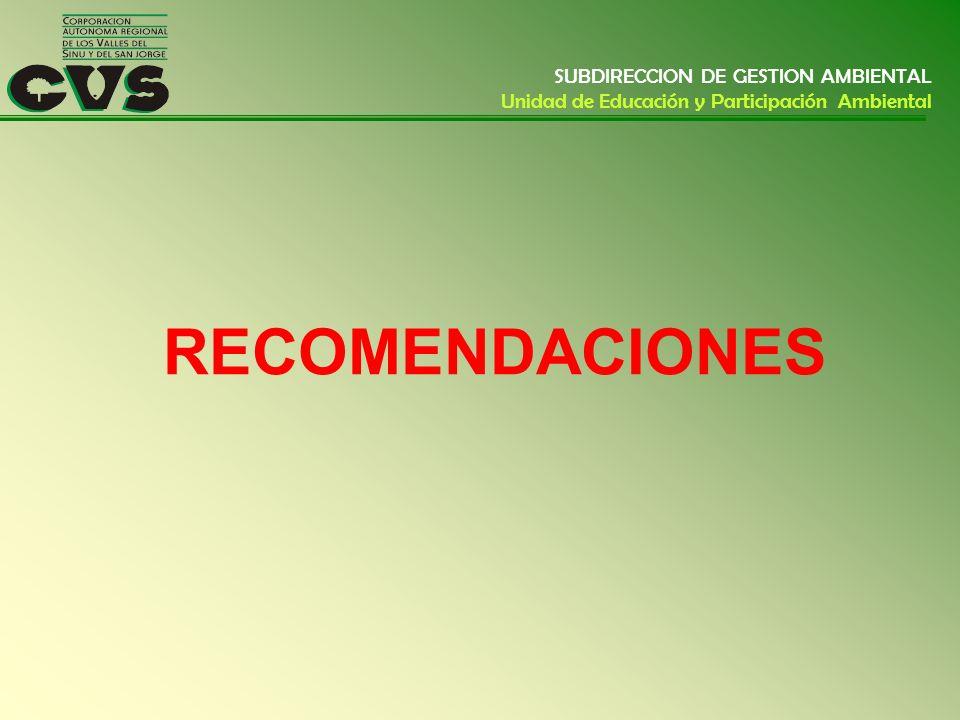 RECOMENDACIONES SUBDIRECCION DE GESTION AMBIENTAL Unidad de Educación y Participación Ambiental