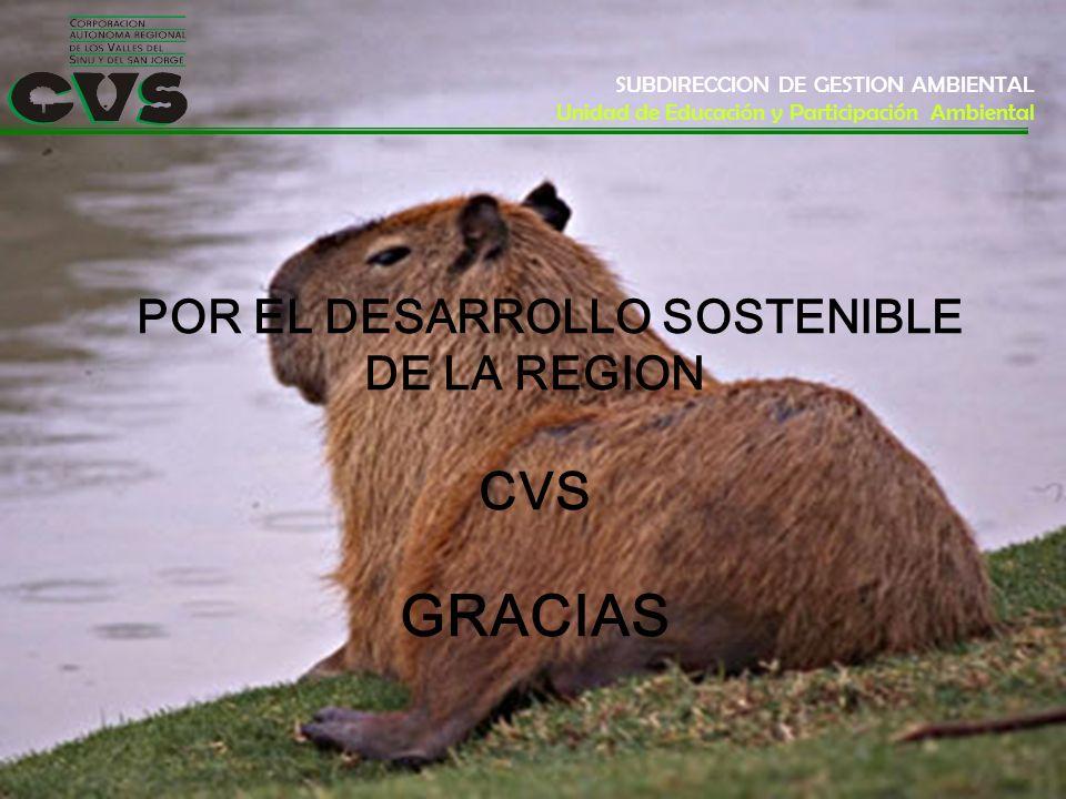 POR EL DESARROLLO SOSTENIBLE DE LA REGION CVS GRACIAS SUBDIRECCION DE GESTION AMBIENTAL Unidad de Educación y Participación Ambiental