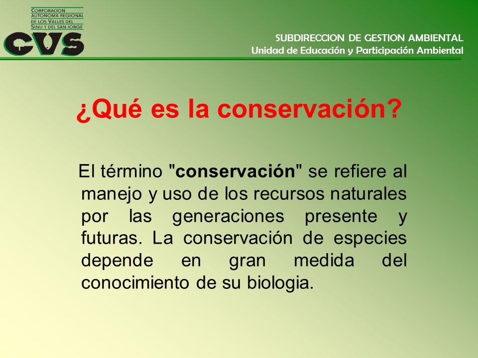 SUBDIRECCION DE GESTION AMBIENTAL Unidad de Educación y Participación Ambiental ¿Qué es la conservación? El término