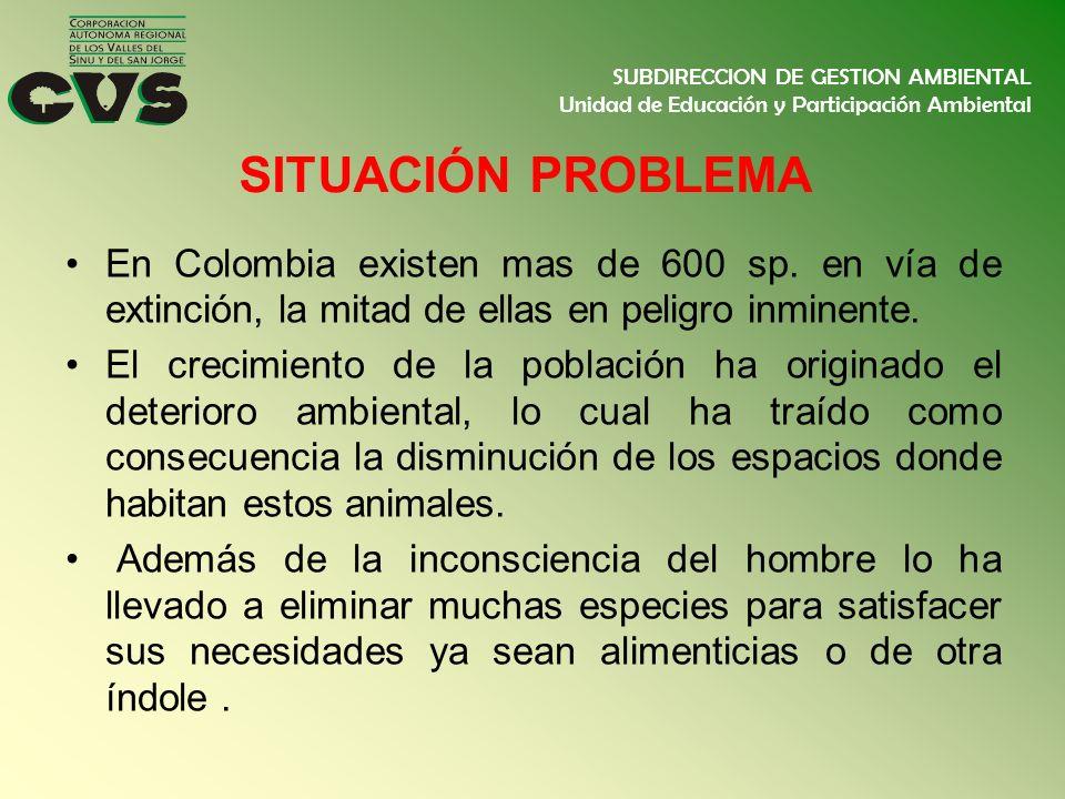 SITUACIÓN PROBLEMA En Colombia existen mas de 600 sp. en vía de extinción, la mitad de ellas en peligro inminente. El crecimiento de la población ha o