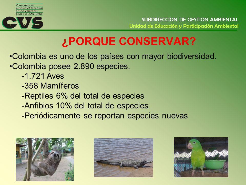 SUBDIRECCION DE GESTION AMBIENTAL Unidad de Educación y Participación Ambiental ¿PORQUE CONSERVAR? Colombia es uno de los países con mayor biodiversid