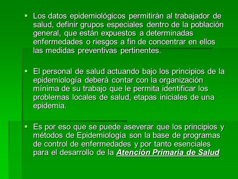 Los datos epidemiológicos permitirán al trabajador de salud, definir grupos especiales dentro de la población general, que están expuestos a determina