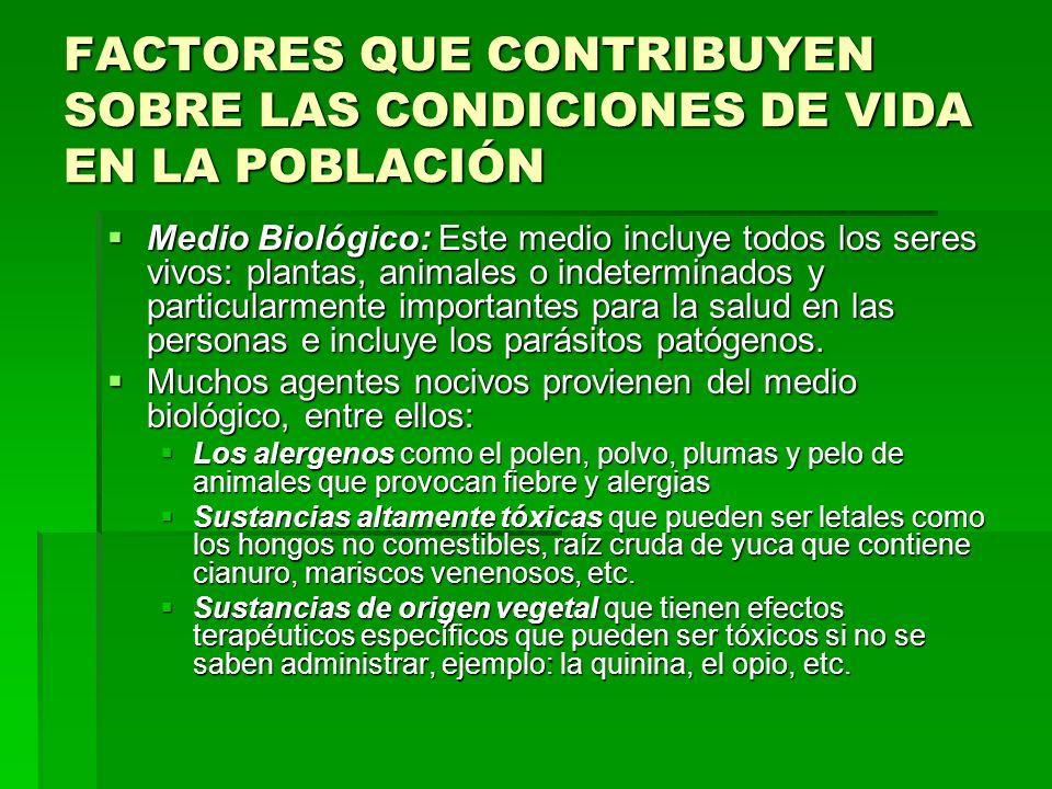 FACTORES QUE CONTRIBUYEN SOBRE LAS CONDICIONES DE VIDA EN LA POBLACIÓN Medio Biológico: Este medio incluye todos los seres vivos: plantas, animales o