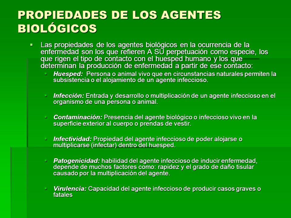 PROPIEDADES DE LOS AGENTES BIOLÓGICOS Las propiedades de los agentes biológicos en la ocurrencia de la enfermedad son los que refieren A SU perpetuaci