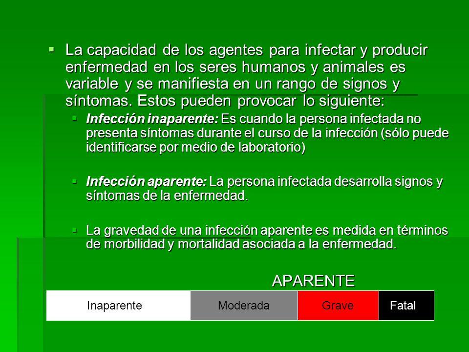 La capacidad de los agentes para infectar y producir enfermedad en los seres humanos y animales es variable y se manifiesta en un rango de signos y sí