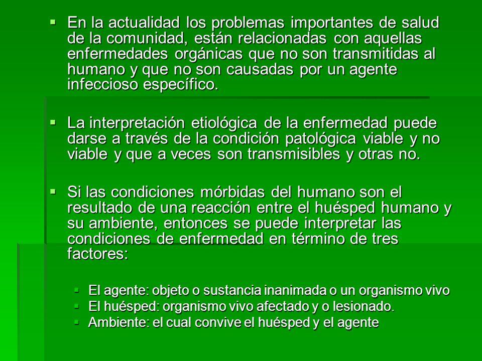 En la actualidad los problemas importantes de salud de la comunidad, están relacionadas con aquellas enfermedades orgánicas que no son transmitidas al