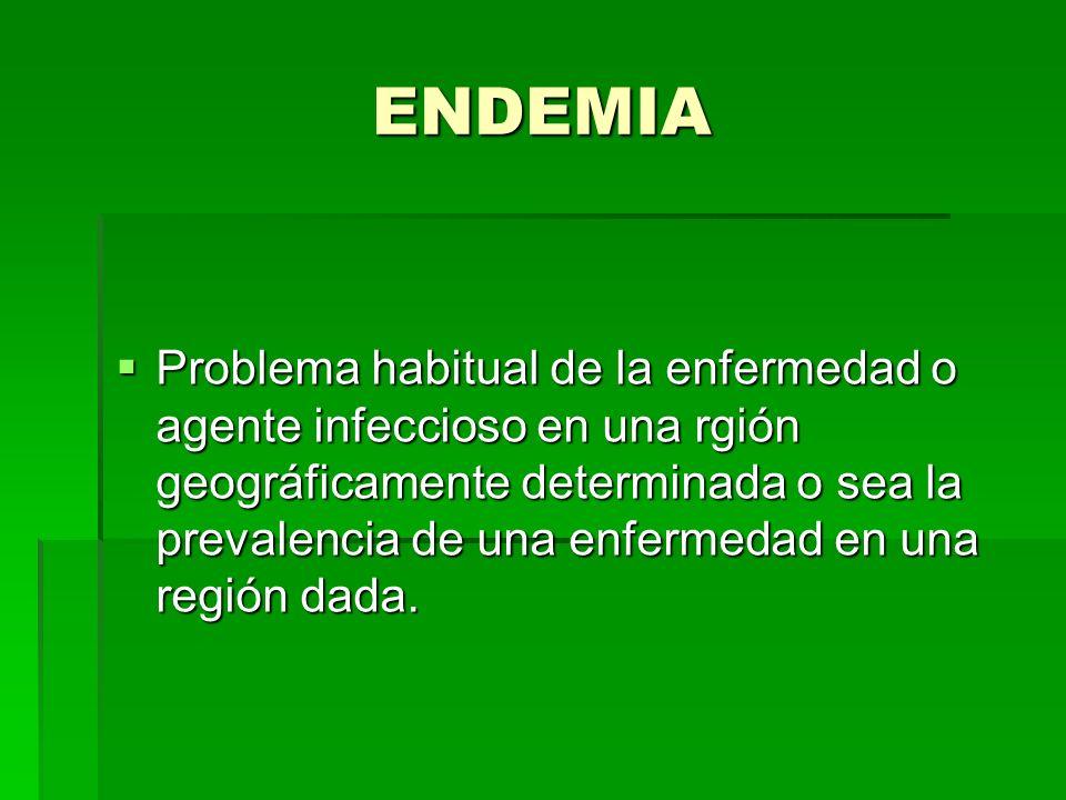 ENDEMIA Problema habitual de la enfermedad o agente infeccioso en una rgión geográficamente determinada o sea la prevalencia de una enfermedad en una