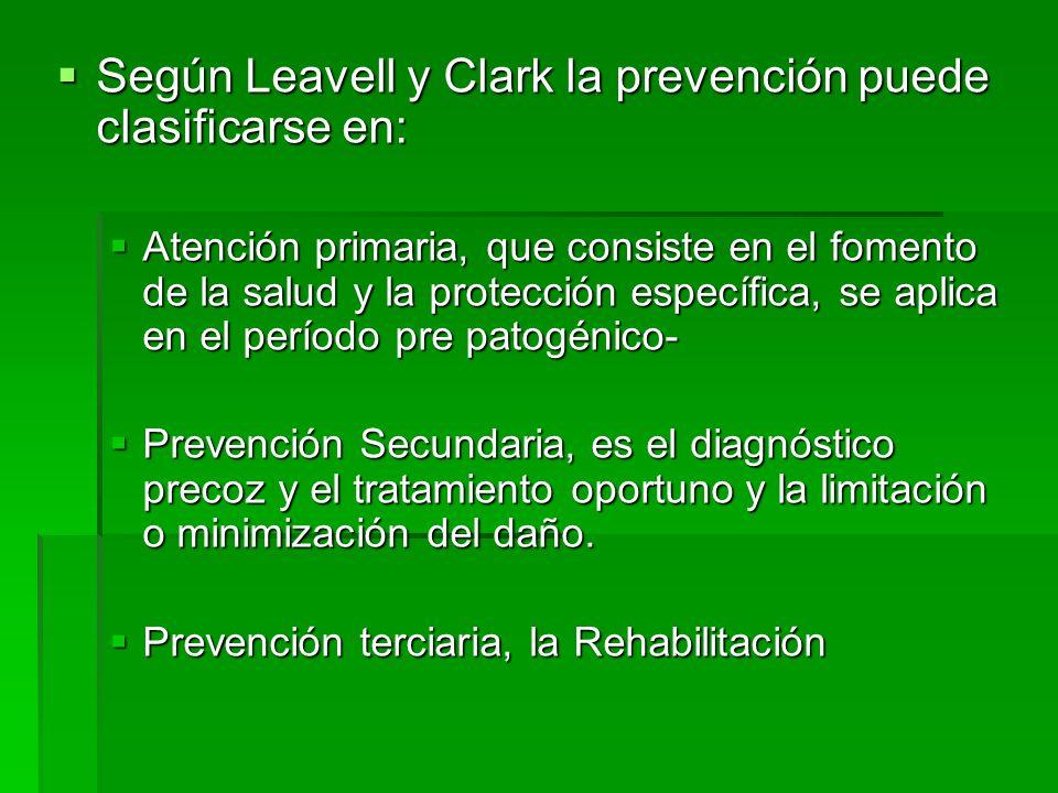 Según Leavell y Clark la prevención puede clasificarse en: Según Leavell y Clark la prevención puede clasificarse en: Atención primaria, que consiste
