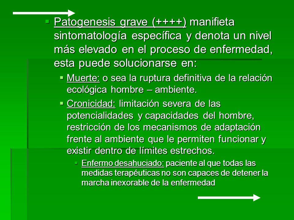 Patogenesis grave (++++) manifieta sintomatología específica y denota un nivel más elevado en el proceso de enfermedad, esta puede solucionarse en: Pa