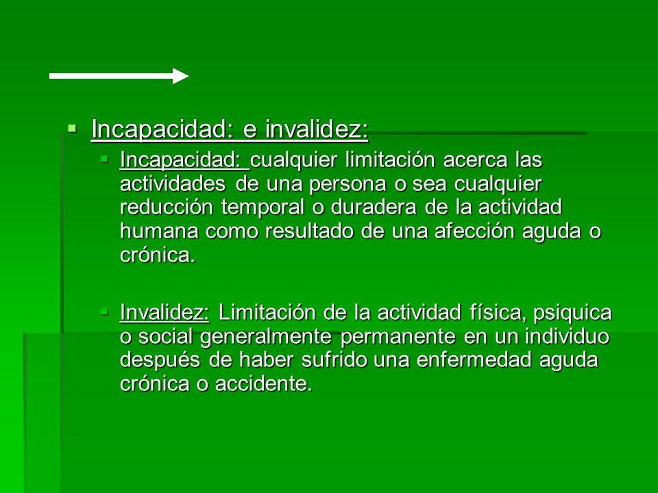 Incapacidad: e invalidez: Incapacidad: e invalidez: Incapacidad: cualquier limitación acerca las actividades de una persona o sea cualquier reducción