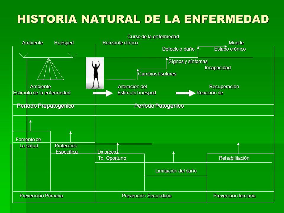 HISTORIA NATURAL DE LA ENFERMEDAD Curso de la enfermedad Curso de la enfermedad Ambiente Huésped Horizonte clínico Muerte Ambiente Huésped Horizonte c