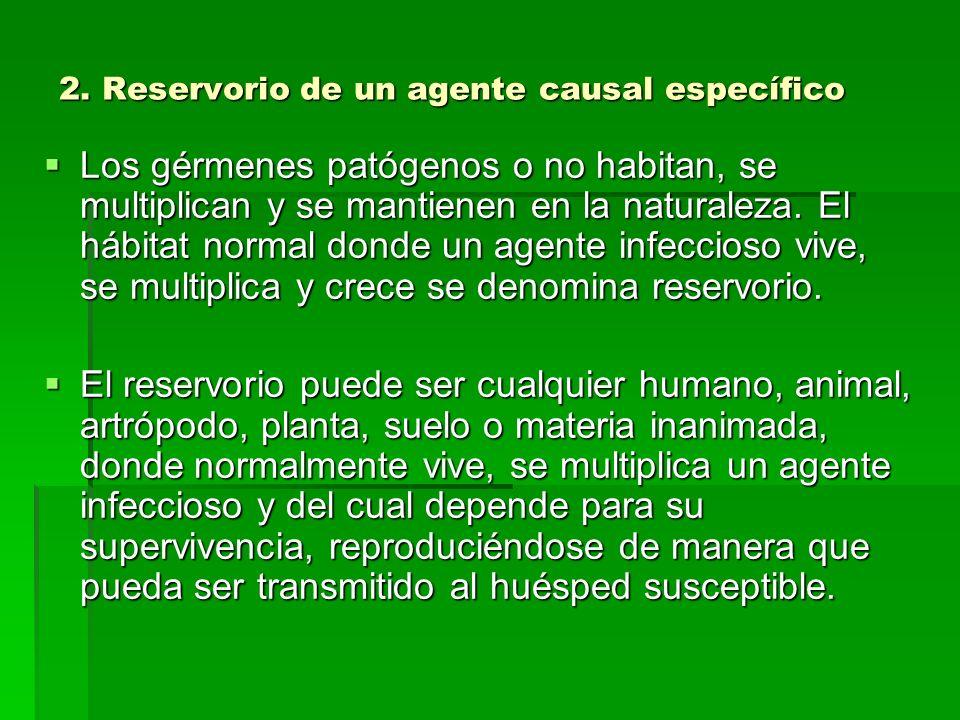2. Reservorio de un agente causal específico Los gérmenes patógenos o no habitan, se multiplican y se mantienen en la naturaleza. El hábitat normal do