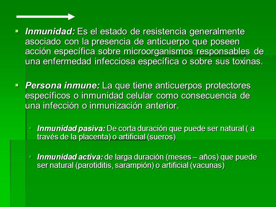 Inmunidad: Es el estado de resistencia generalmente asociado con la presencia de anticuerpo que poseen acción específica sobre microorganismos respons