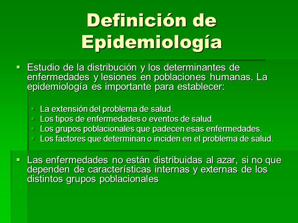 Definición de Epidemiología Estudio de la distribución y los determinantes de enfermedades y lesiones en poblaciones humanas. La epidemiología es impo