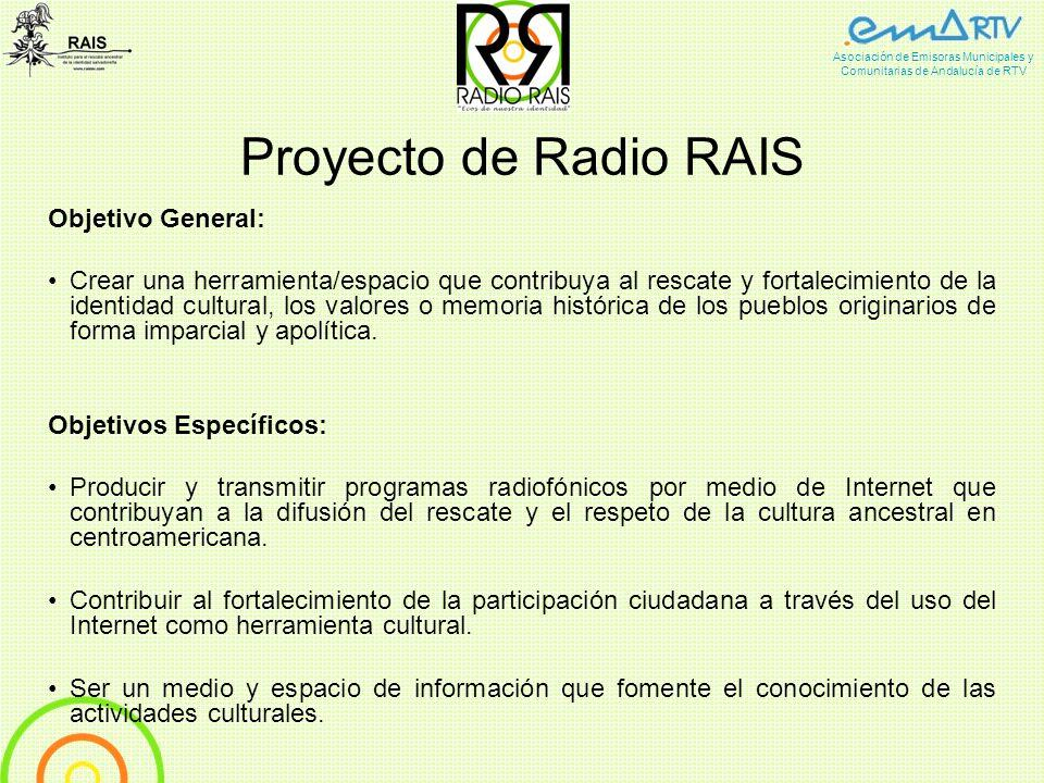 Proyecto de Radio RAIS Objetivo General: Crear una herramienta/espacio que contribuya al rescate y fortalecimiento de la identidad cultural, los valor