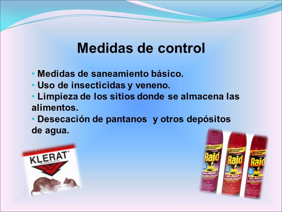 Medidas de control Medidas de saneamiento básico. Uso de insecticidas y veneno. Limpieza de los sitios donde se almacena las alimentos. Desecación de
