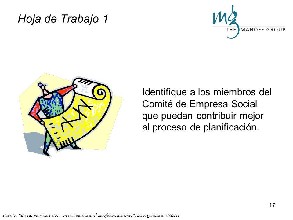 16 Preparar el Terreno - el Comité de Empresa Social Una parte crítica del proceso de planificación es la de conseguir apoyo organizacional – un Comit