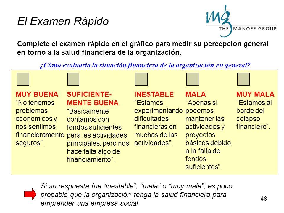 47 Evaluación de la Preparación Financiera En esta sección, determinaremos si la organización se encuentra preparada desde el punto de vista financier