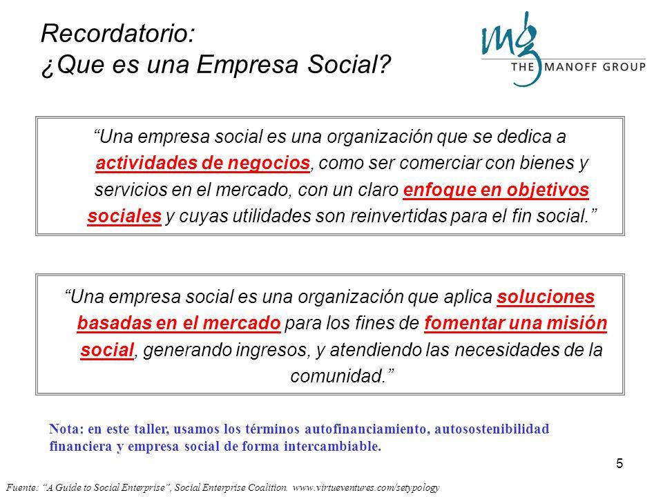 5 Una empresa social es una organización que se dedica a actividades de negocios, como ser comerciar con bienes y servicios en el mercado, con un claro enfoque en objetivos sociales y cuyas utilidades son reinvertidas para el fin social.