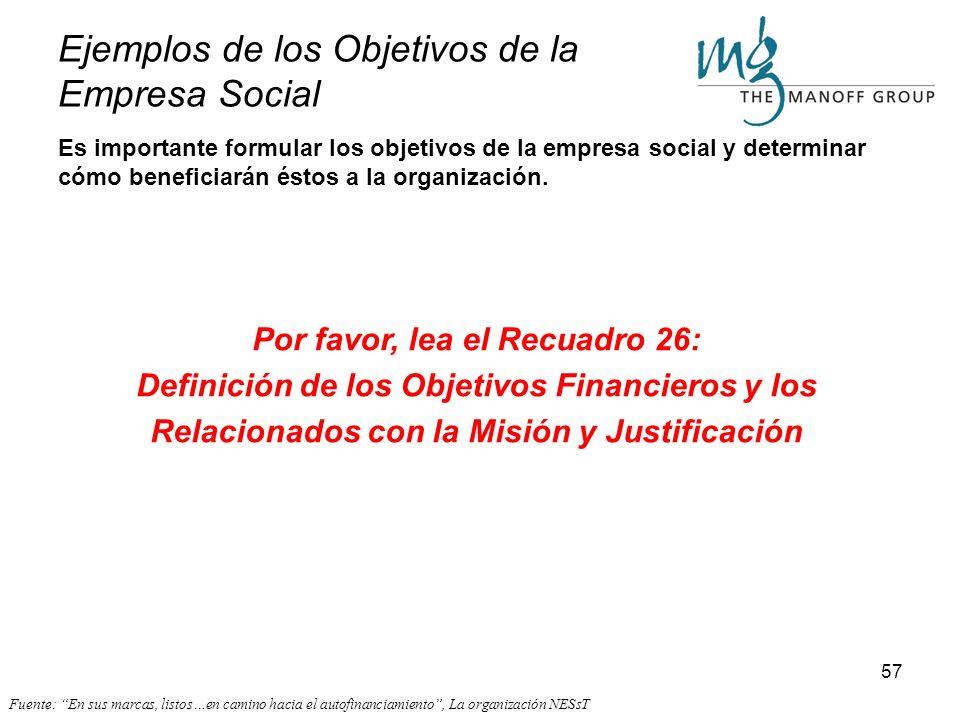 56 Objetivos relacionados con la misión. Es importante que desde el propio inicio del proceso se definan los objetivos propios de la empresa social, c