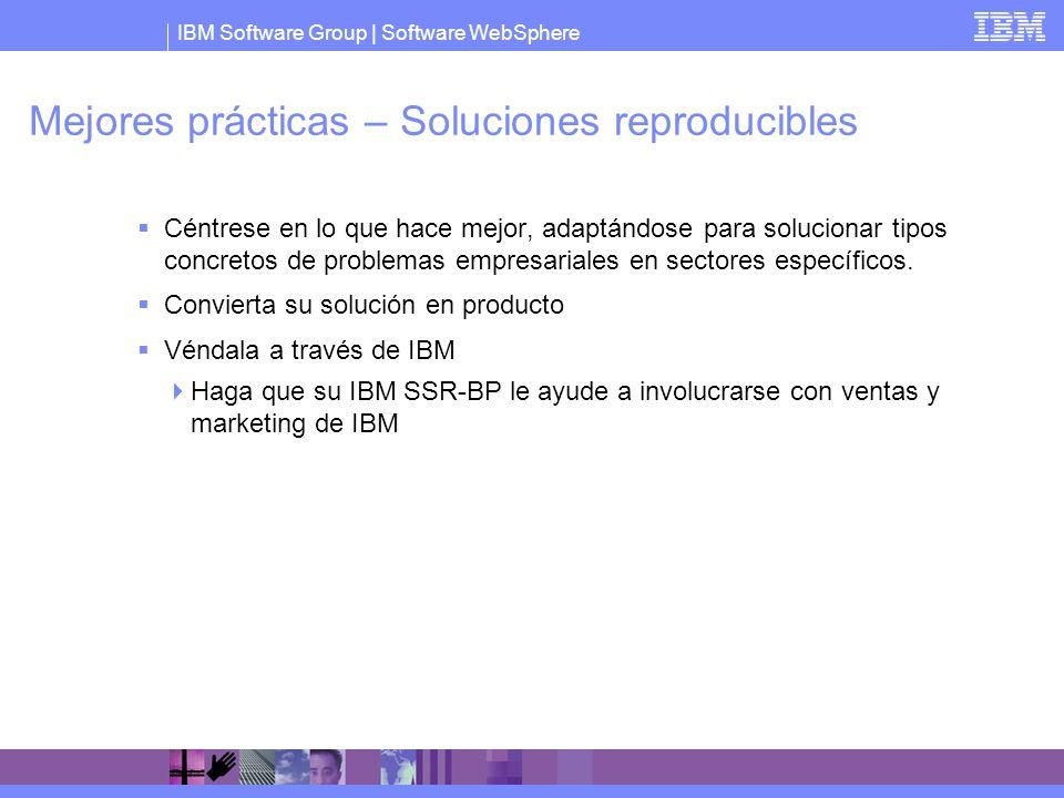 IBM Software Group   Software WebSphere Mejores prácticas – Soluciones reproducibles Céntrese en lo que hace mejor, adaptándose para solucionar tipos