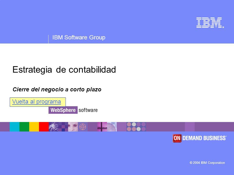 ® IBM Software Group © 2004 IBM Corporation Estrategia de contabilidad Cierre del negocio a corto plazo Vuelta al programa