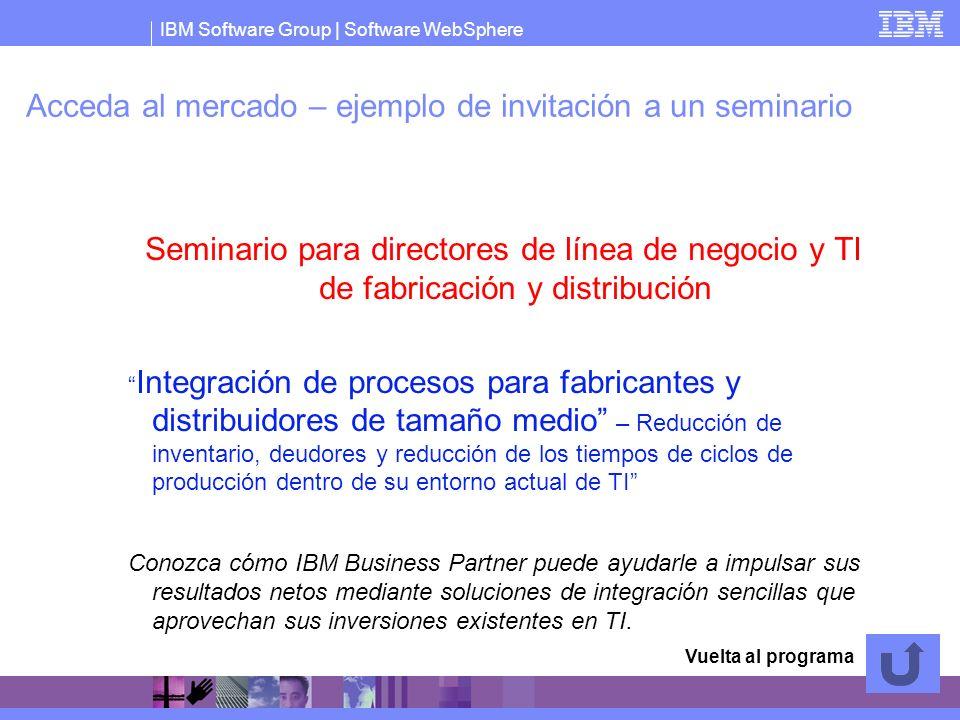 IBM Software Group   Software WebSphere Acceda al mercado – ejemplo de invitación a un seminario Seminario para directores de línea de negocio y TI de