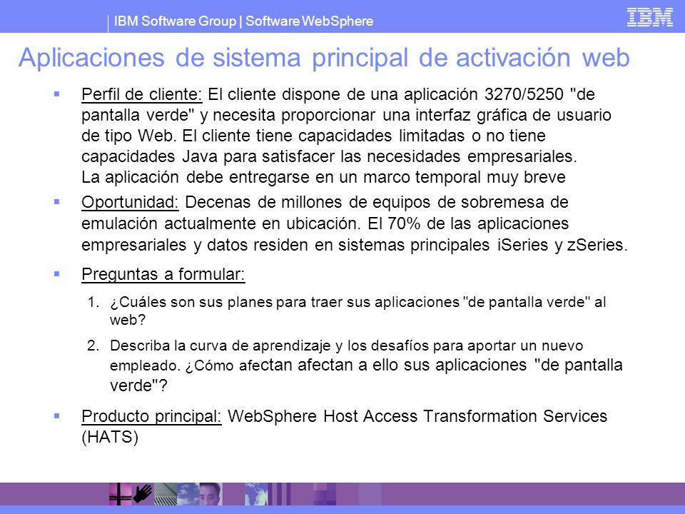 IBM Software Group   Software WebSphere Aplicaciones de sistema principal de activación web Perfil de cliente: El cliente dispone de una aplicación 32