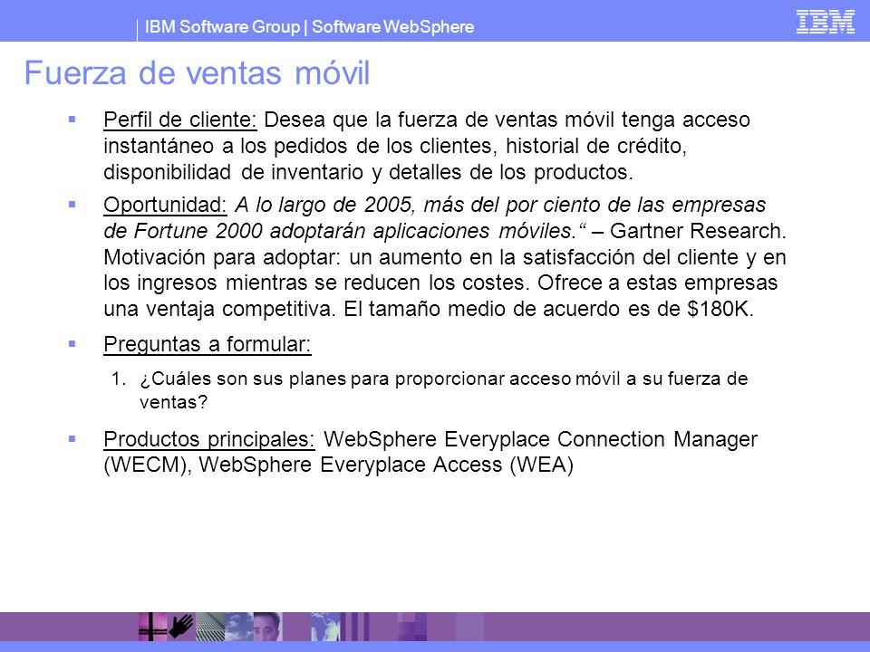 IBM Software Group   Software WebSphere Fuerza de ventas móvil Perfil de cliente: Desea que la fuerza de ventas móvil tenga acceso instantáneo a los p
