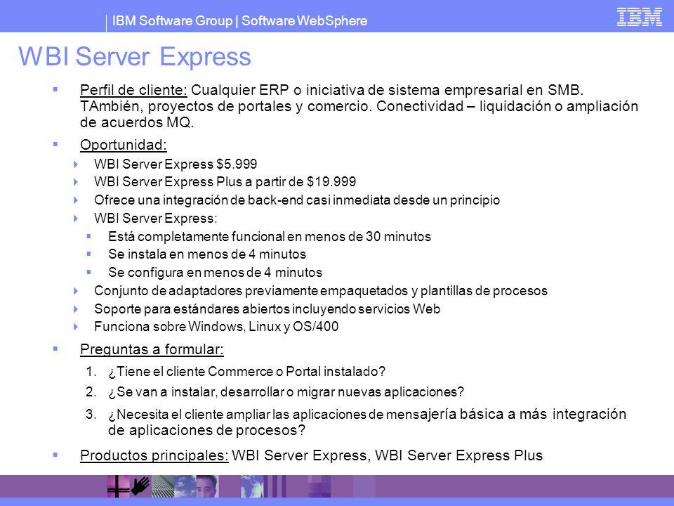 IBM Software Group   Software WebSphere WBI Server Express Perfil de cliente: Cualquier ERP o iniciativa de sistema empresarial en SMB. TAmbién, proye