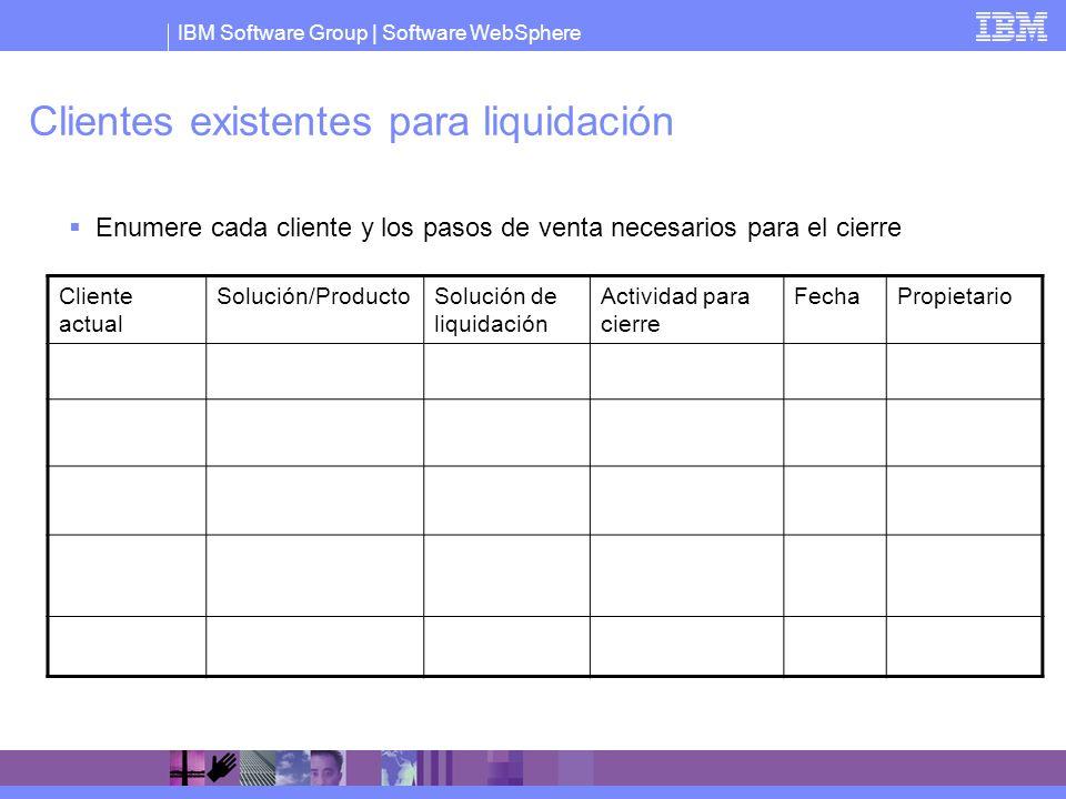 IBM Software Group   Software WebSphere Clientes existentes para liquidación Enumere cada cliente y los pasos de venta necesarios para el cierre Clien