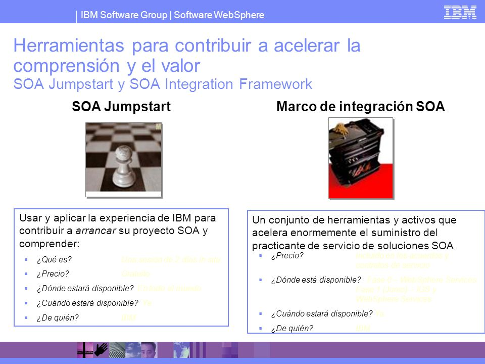 IBM Software Group   Software WebSphere Usar y aplicar la experiencia de IBM para contribuir a arrancar su proyecto SOA y comprender: Herramientas par