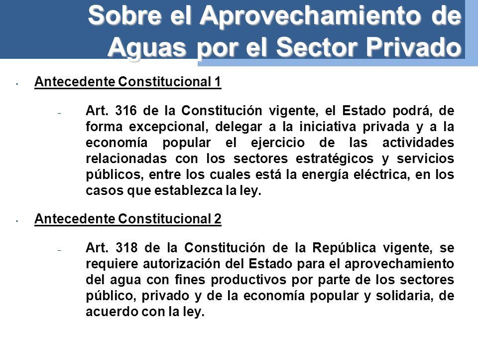 Sobre el Aprovechamiento de Aguas por el Sector Privado Antecedente Constitucional 1 – Art.