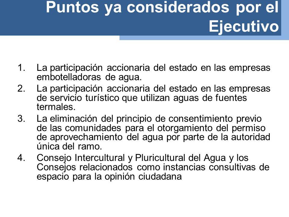 1.La participación accionaria del estado en las empresas embotelladoras de agua.