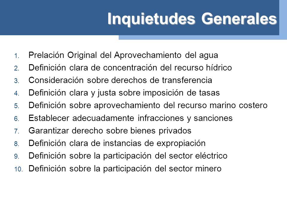 Inquietudes Generales 1. Prelación Original del Aprovechamiento del agua 2.