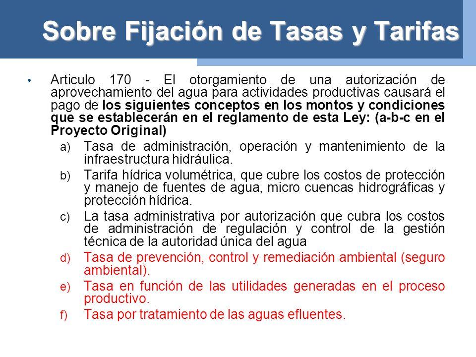 Sobre Fijación de Tasas y Tarifas Fijación de Tasas y Tarifas.- (Art.
