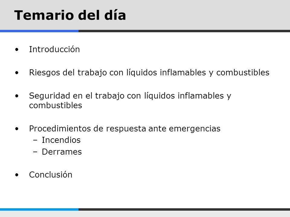 Temario del día Introducción Riesgos del trabajo con líquidos inflamables y combustibles Seguridad en el trabajo con líquidos inflamables y combustibl