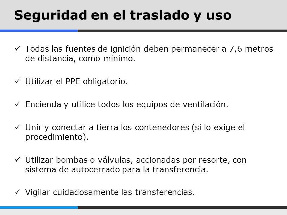 Seguridad en el traslado y uso Todas las fuentes de ignición deben permanecer a 7,6 metros de distancia, como mínimo. Utilizar el PPE obligatorio. Enc