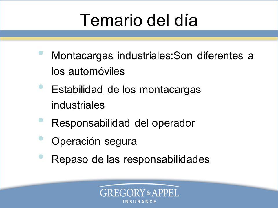 Temario del día Montacargas industriales:Son diferentes a los automóviles Estabilidad de los montacargas industriales Responsabilidad del operador Ope