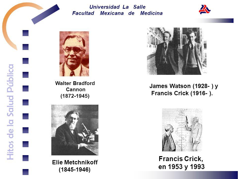 Hitos de la Salud Pública Universidad La Salle Facultad Mexicana de Medicina Walter Bradford Cannon (1872-1945) James Watson (1928- ) y Francis Crick