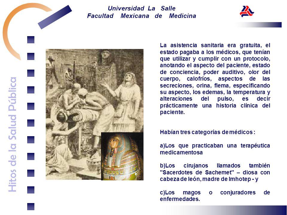 Hitos de la Salud Pública Universidad La Salle Facultad Mexicana de Medicina La asistencia sanitaria era gratuita, el estado pagaba a los médicos, que