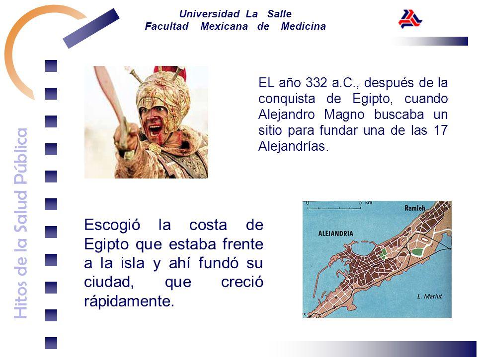 Hitos de la Salud Pública Universidad La Salle Facultad Mexicana de Medicina EL año 332 a.C., después de la conquista de Egipto, cuando Alejandro Magn