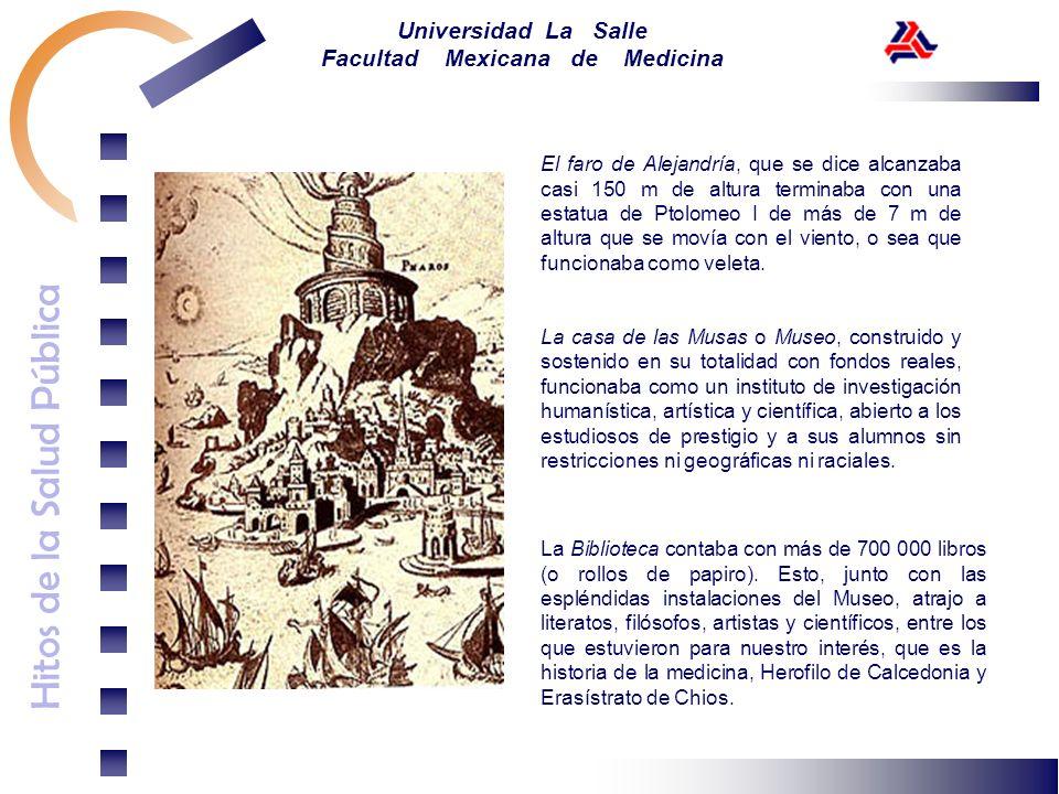 Hitos de la Salud Pública Universidad La Salle Facultad Mexicana de Medicina El faro de Alejandría, que se dice alcanzaba casi 150 m de altura termina