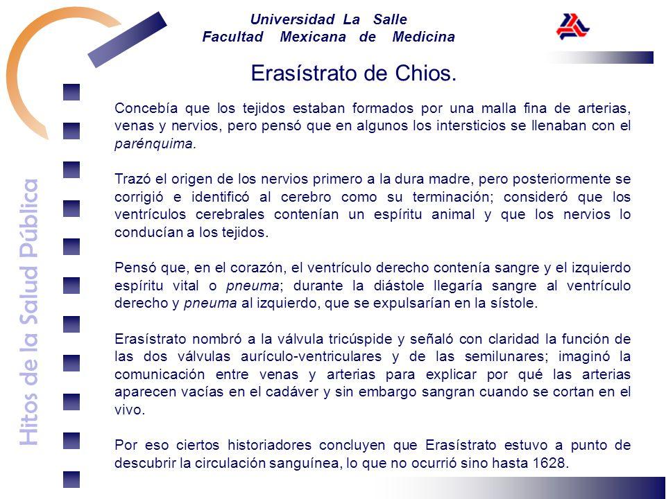 Hitos de la Salud Pública Universidad La Salle Facultad Mexicana de Medicina Concebía que los tejidos estaban formados por una malla fina de arterias,