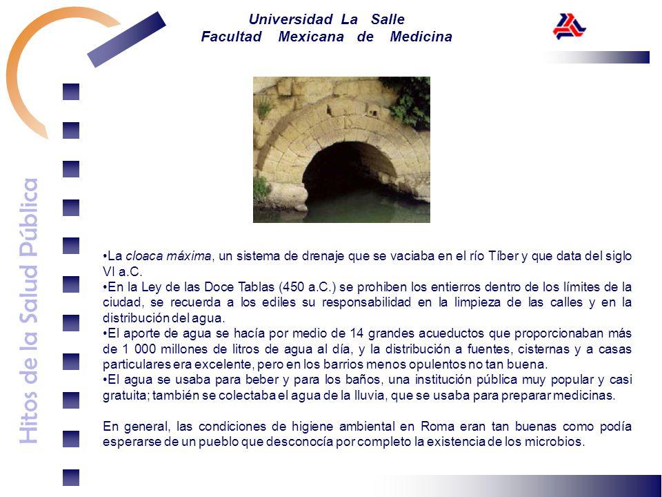 Hitos de la Salud Pública Universidad La Salle Facultad Mexicana de Medicina La cloaca máxima, un sistema de drenaje que se vaciaba en el río Tíber y