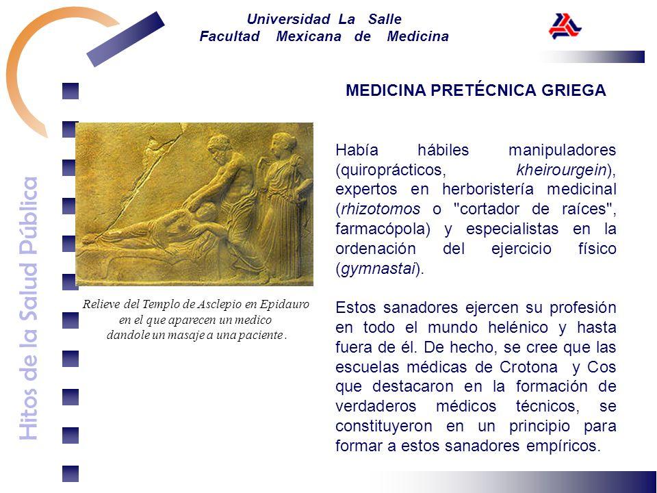 Hitos de la Salud Pública Universidad La Salle Facultad Mexicana de Medicina MEDICINA PRETÉCNICA GRIEGA Había hábiles manipuladores (quiroprácticos, k