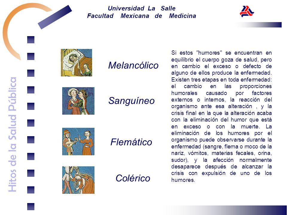 Hitos de la Salud Pública Universidad La Salle Facultad Mexicana de Medicina Melancólico Sanguíneo Flemático Colérico Si estos