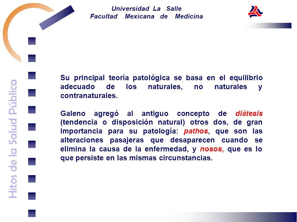 Hitos de la Salud Pública Universidad La Salle Facultad Mexicana de Medicina Su principal teoría patológica se basa en el equilibrio adecuado de los n