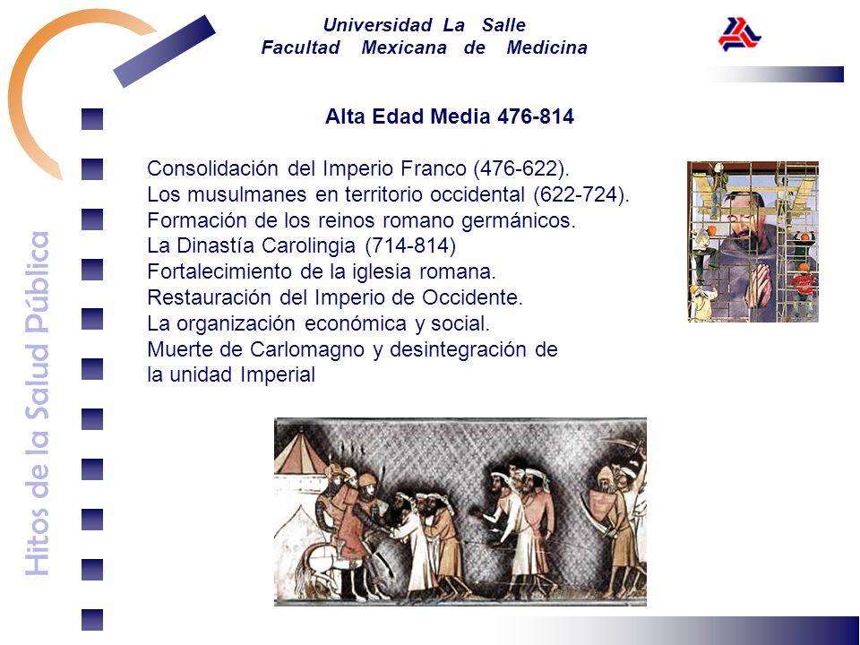 Hitos de la Salud Pública Universidad La Salle Facultad Mexicana de Medicina Alta Edad Media 476-814 Consolidación del Imperio Franco (476-622). Los m