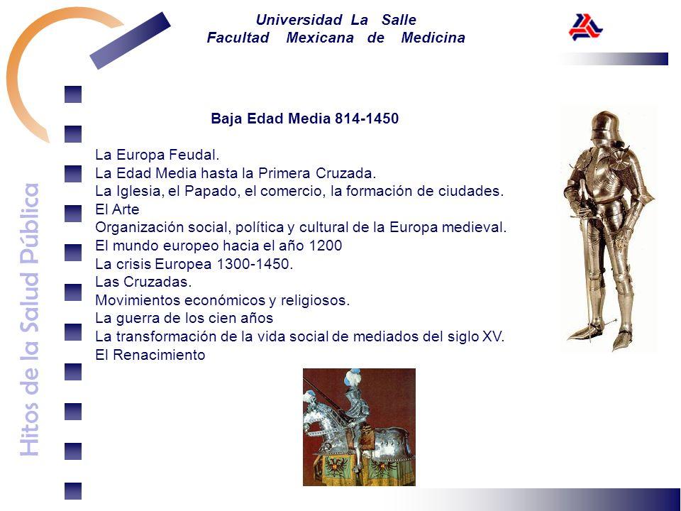 Hitos de la Salud Pública Universidad La Salle Facultad Mexicana de Medicina Baja Edad Media 814-1450 La Europa Feudal. La Edad Media hasta la Primera
